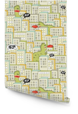 Seamless pattern with buildings and monsters. Wallpaper roll
