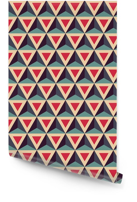 Modern vektor seamless färgrik geometri mönster, 3D trianglar, färg röd blå, abstrakt geometrisk bakgrund, trendig färgad tryck, retro textur, hipster modedesign Rulltapet