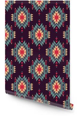 Sin patrón decorativo del vector étnica. motivos indios americanos. Fondo con el ornamento tribal azteca. Rollo de papel pintado