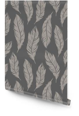 Sømløs vektor mønster med grå fjær symboler Rulletapet