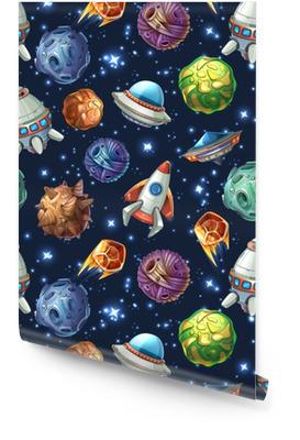 Planètes spatiales comiques et vaisseaux spatiaux. modèle sans couture de vecteur Rouleau de papier peint