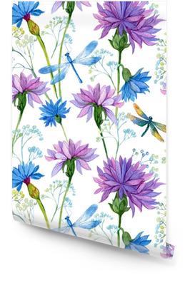 Modello senza cuciture acquerelli fiori blu e libellule Rotolo di carta da parati