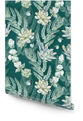 Floral seamless pattern. Succulents, ferns, thorns. Wallpaper roll