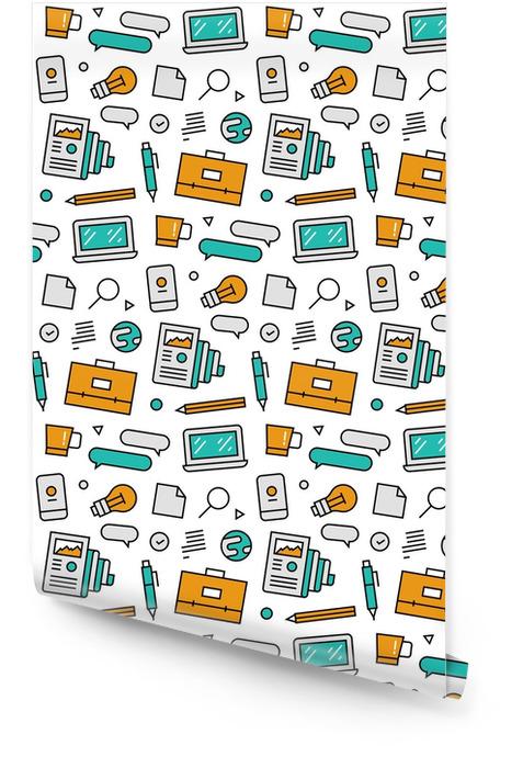 Patrón de iconos sin fisuras de elementos de negocios Rollo de papel pintado - Recursos gráficos