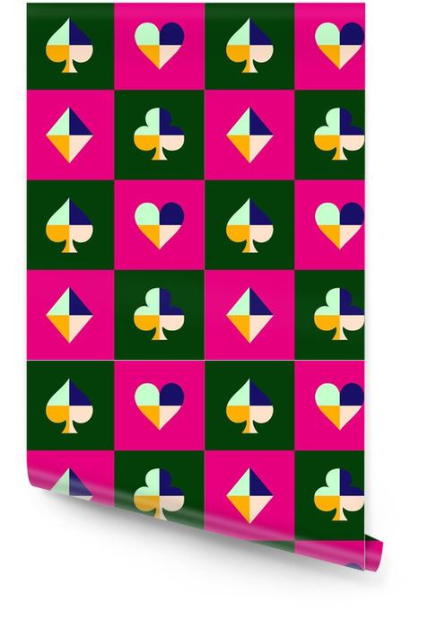 Tarjeta traje tablero de ajedrez rosa patrón verde ilustración vectorial Rollo de papel pintado - Recursos gráficos