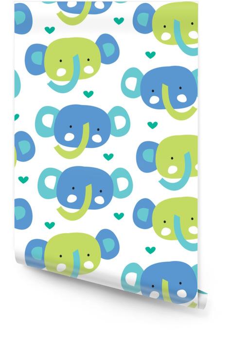 Bezszwowe ładny słoń wzór ilustracji wektorowych Tapeta w rolce - Zwierzęta