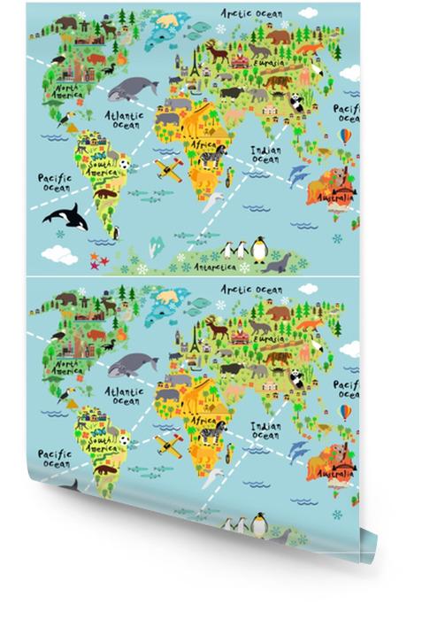 Kreskówka mapa świata Tapeta w rolce - Zwierzęta