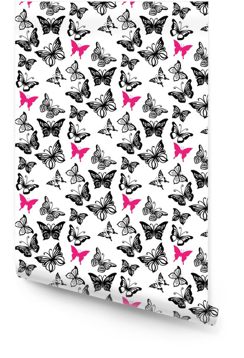 Seamless pattern with silhouettes of butterflies Wallpaper roll - Graphic Resources