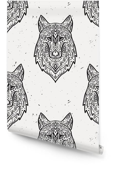 Vector grunge monochrome seamless loup style tribal avec des ornements ethniques. motifs indiens américains. conception Boho. Rouleau de papier peint - Animaux