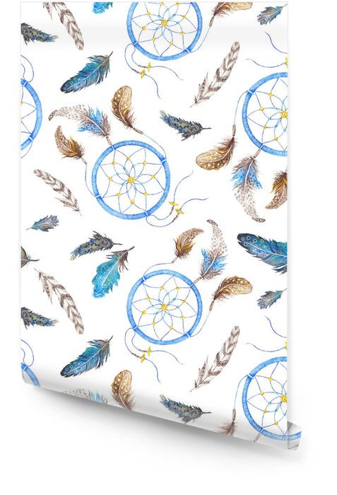 Boho Pattern with Feathers and Dreamcatcher Tapeta w rolce - Sztuka i twórczość