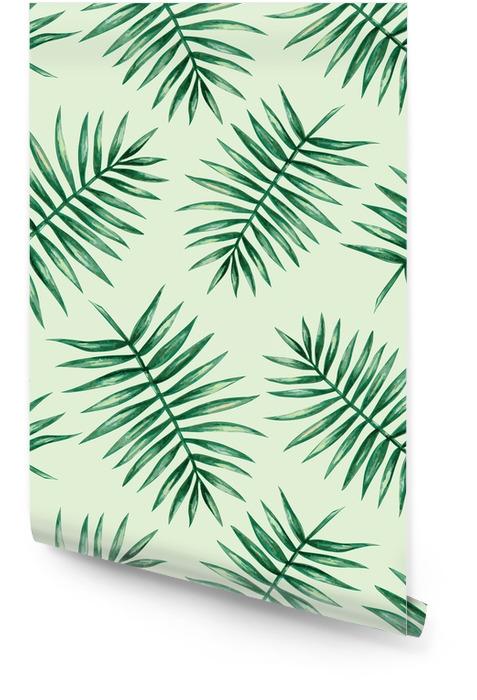 Akwarela tropikalnych liści palmowych szwu wzorca. ilustracji wektorowych. Tapeta w rolce - Zasoby graficzne