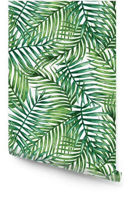 Watercolor tropical palm leaves seamless pattern. Vector illustration. Tapeta w rolce - Tła