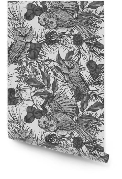 Patrón sin costuras de búhos y ramas Rollo de papel pintado - Animales