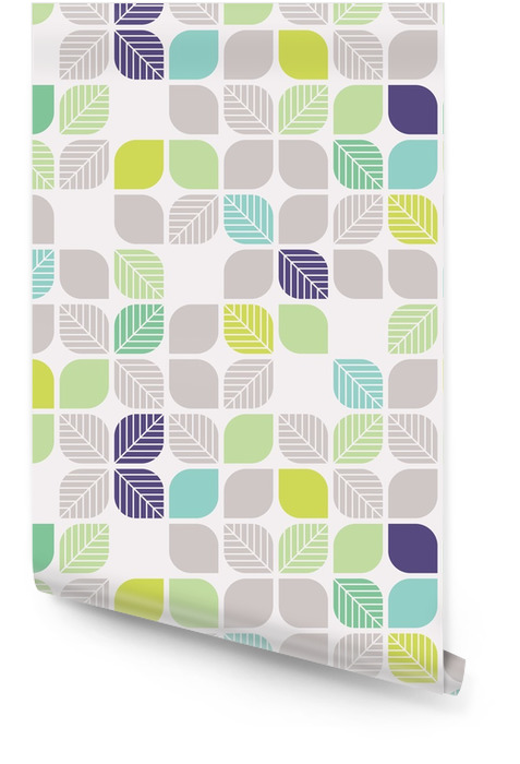 Naadloze geometrische patroon met bladeren Behangrol - Grafische Bronnen