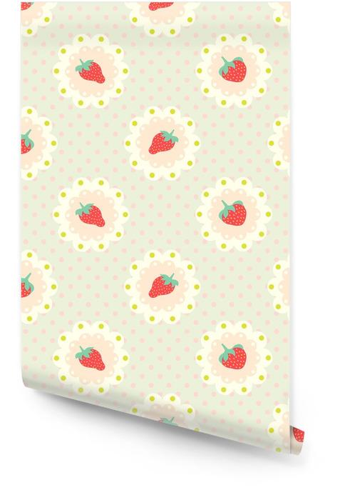 Motif de fraises rétro. style shabby chic Rouleau de papier peint - Nourriture