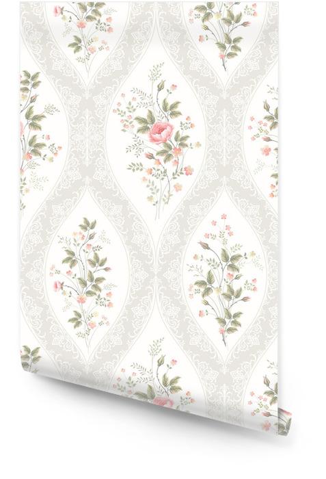 Naadloze bloemmotief met kant en bloemenboeket Behangrol - Bloemen en Planten