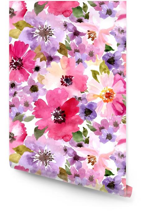 Patrón de vector con flores y plantas. Acuarela floral illustration.seamless patrón. Rollo de papel pintado - Plantas y flores