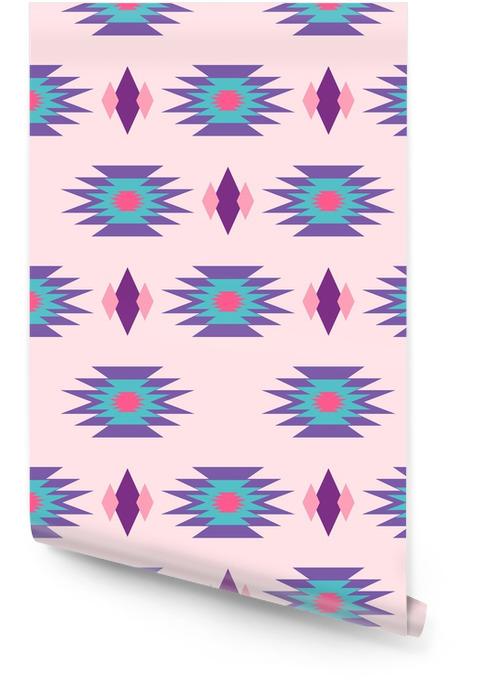 Aztec Indiase geometrische naadloos patroon. Tribal blauw en roze stof ontwerp met geometrische vorm elementen. Behangrol - Grafische Bronnen