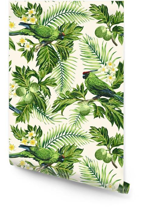 Yapraklar, çiçekler ve papağanlar ile dikişsiz tropikal desen. Rulo Duvar Kağıdı - Hayvanlar