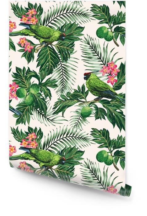 Sömlöst tropiskt mönster med löv, blommor och papegojor. Rulltapet - Djur