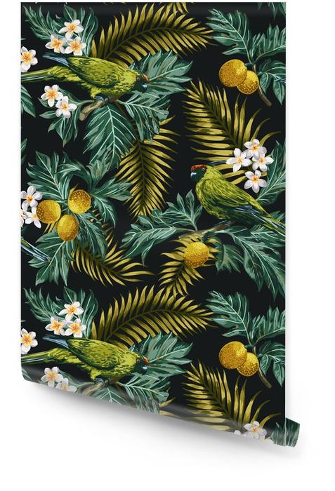 Bezszwowe tropikalny wzór z liści, kwiatów i papugi. Tapeta w rolce - Zwierzęta