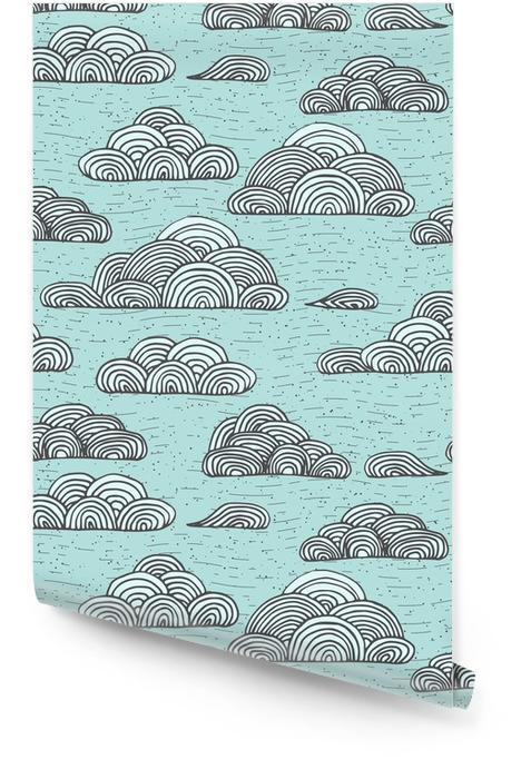 Abstract vector seamless doux avec des nuages. main stylisée Colorful dessinée ciel nuageux texture sur fond clair Rouleau de papier peint - Ressources graphiques