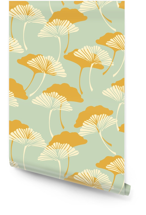 a japanese style ginkgo biloba leaves seamless tile in a gold and light blue color palette Wallpaper roll - Graphic Resources