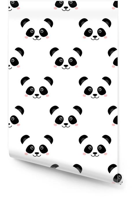 Face Panda mignon. Seamless wallpaper Rouleau de papier peint - Animaux