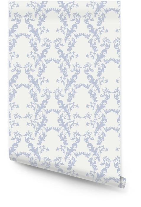 Klasyczny styl kwiatowy ornament wzór beżowy i niebieski. wektor Tapeta w rolce - Zasoby graficzne