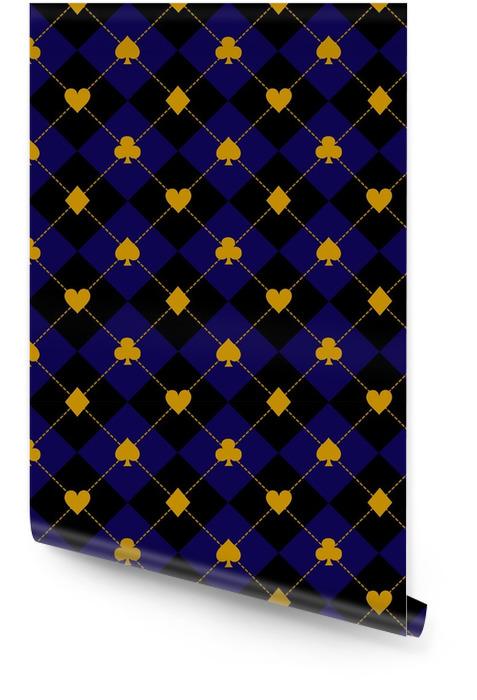 Karta pasuje czarny królewski niebieski diament tło wektor ilustracja Tapeta w rolce - Zasoby graficzne