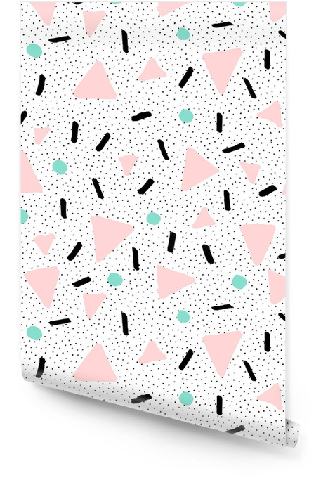 Hand Drawn Retro Seamless Pattern Wallpaper roll - Graphic Resources