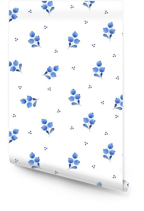 Niebieskie kwiaty rosyjski porcelany ozdoba piękna ludowej. Tapeta w rolce - Hobby i rozrywka