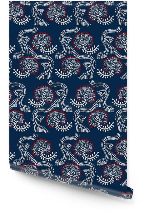 Naadloos bloemenpatroon, traditionele blok gedrukt ornament, handgemaakte Russische motief met ecru en rode bloemen op een marine blauwe achtergrond. Textieldruk. Behangrol - Grafische Bronnen