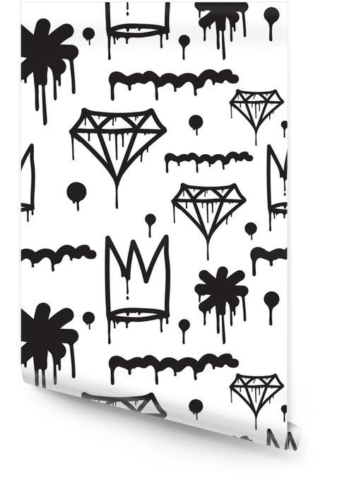 Graffiti seamless pattern Wallpaper roll - Graphic Resources