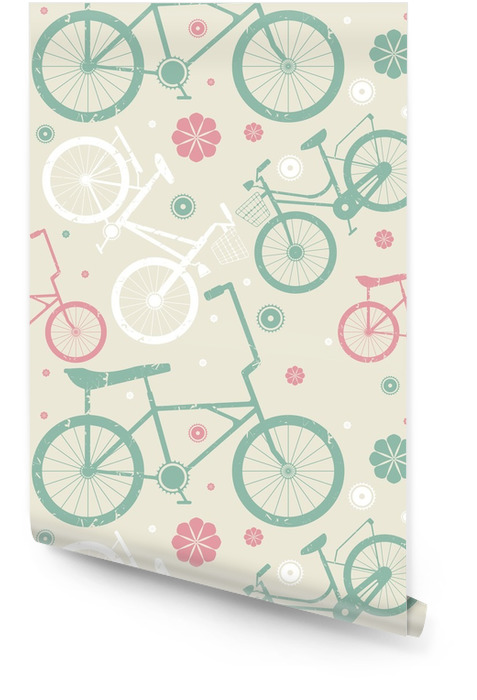 Naadloos patroon met retro fietsen en bloemen Behangrol - Sport