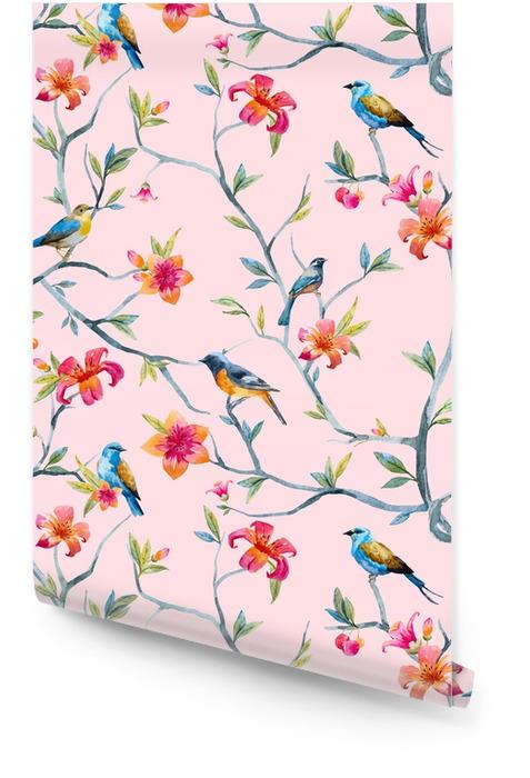 Patrón floral acuarela Rollo de papel pintado - Plantas y flores