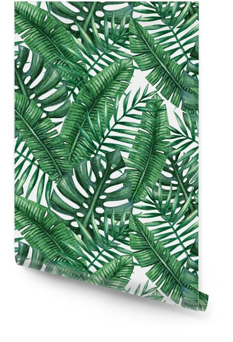 Waterverf het tropische palm verlaat naadloos patroon. Vector illustratie. Behangrol - Grafische Bronnen