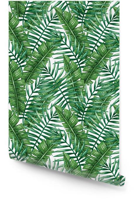 Akwarela tropikalny palmy pozostawia wzór. ilustracji wektorowych. Tapeta w rolce - Zasoby graficzne