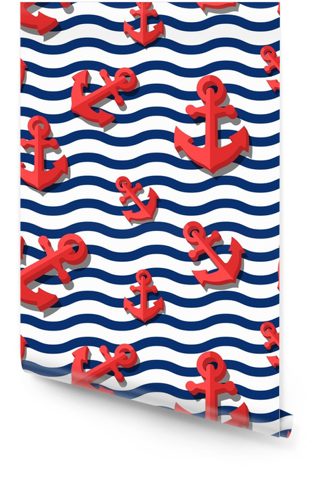 Vector seamless pattern with 3d stylized red anchors and blue wavy stripes. Summer marine striped background. Design for fashion textile print, wrapping paper, web background. Anchor flat symbol. Wallpaper roll - Graphic Resources