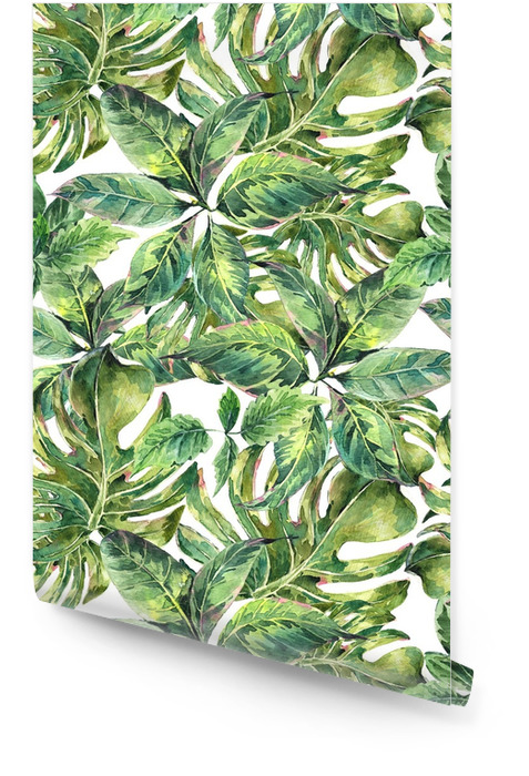 Letní exotický akvarel bezproblémový vzorek Tapeta v rolích - Koníčky a volný čas