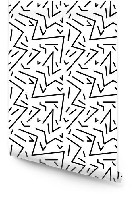 Saumaton geometrinen vintage kuvio retro 80-tyylin, memphis. ihanteellinen kankaan suunnitteluun, paperitulostukseen ja verkkosivujen taustaan. eps10 vektoritiedosto Rullatapetti - Graafiset Resurssit
