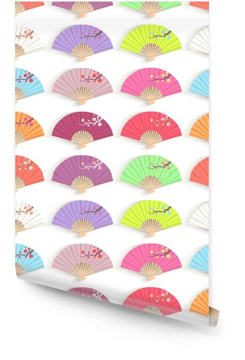 Naadloze textuur met decoratieve opvouwbare fans. Behangrol - Grafische Bronnen