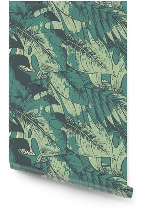 Naadloos patroon met groene hand getekende tropische planten Behangrol - Bloemen en Planten