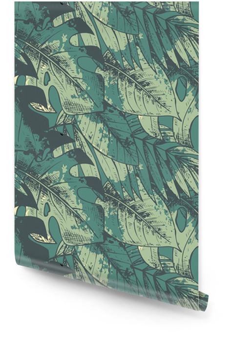 Seamless pattern with green hand drawn tropical plants Wallpaper Roll - Plants and Flowers