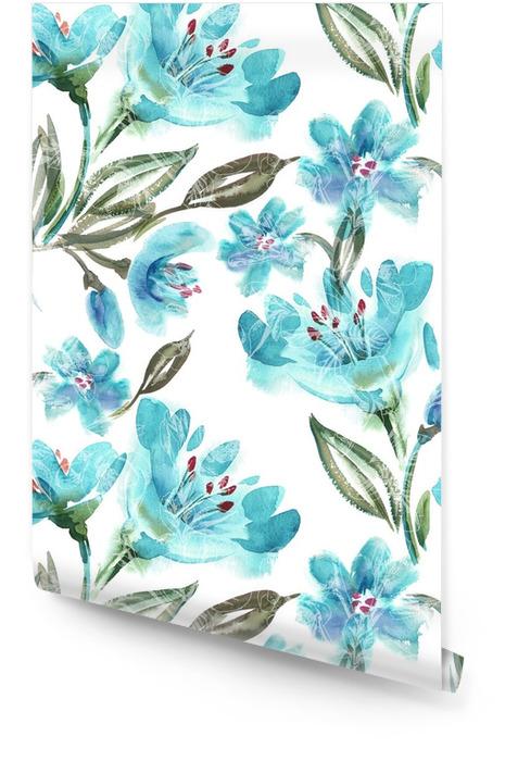 Akwarela Turquoise Flowers Seamless Pattern Tapeta w rolce - Rośliny i kwiaty