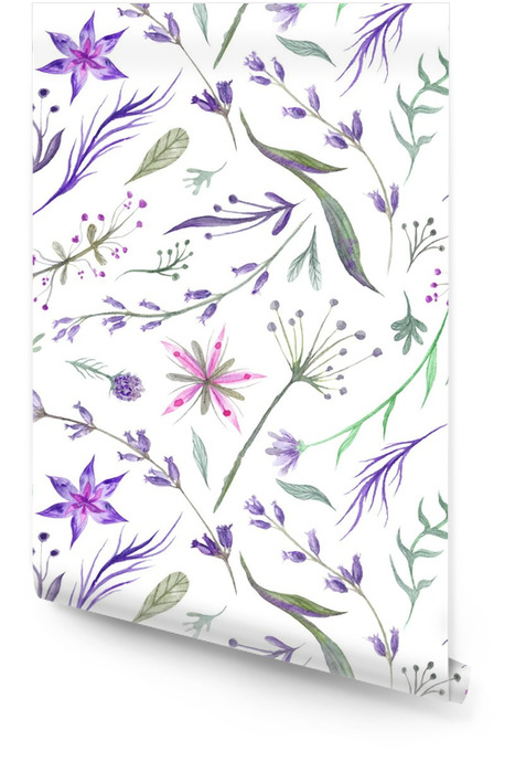 Watercolor Herbal Patroon met Lavendel in paarse kleur Behangrol - Bloemen en Planten