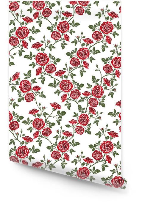 Wektor bez szwu - romantyczne czerwone róże. Tapeta w rolce - Zasoby graficzne