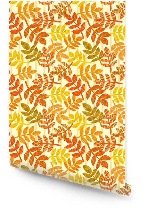 Vector eamless pattern with autumn leaves Wallpaper roll - Culture and Religion