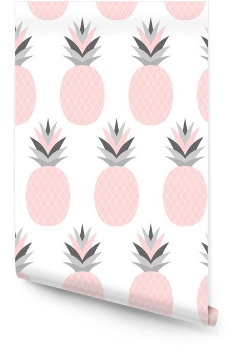 Pink Pineapples Pattern Wallpaper roll - Food