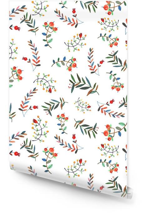 Bloemen naadloos patroon Behangrol - Bloemen en Planten